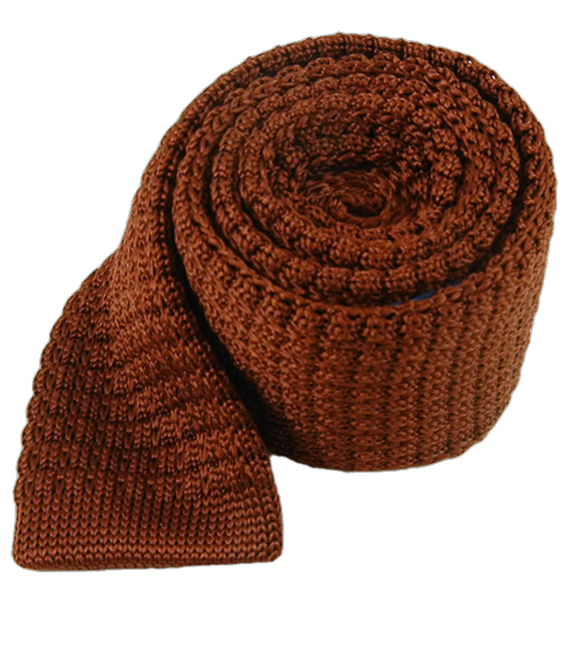 Textured Solid Knit Root Beer Tie