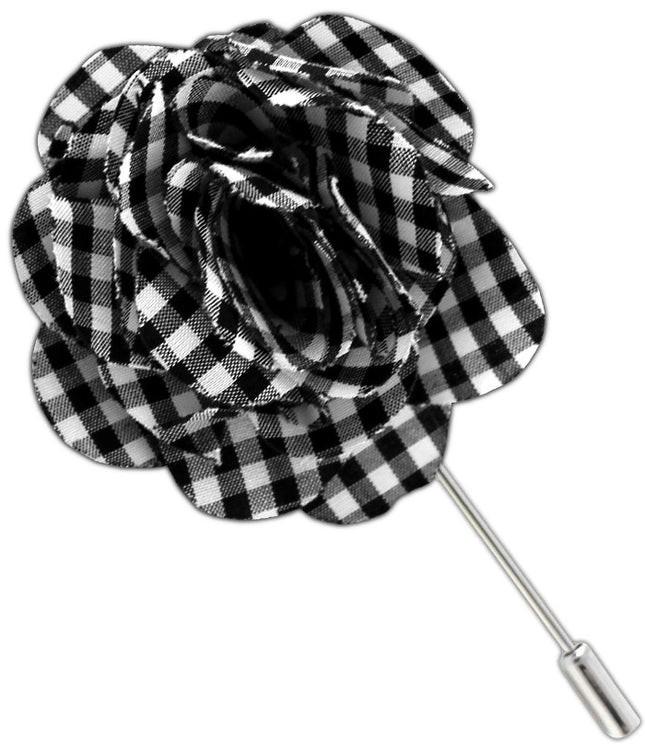Petite Gingham Black Lapel Flower