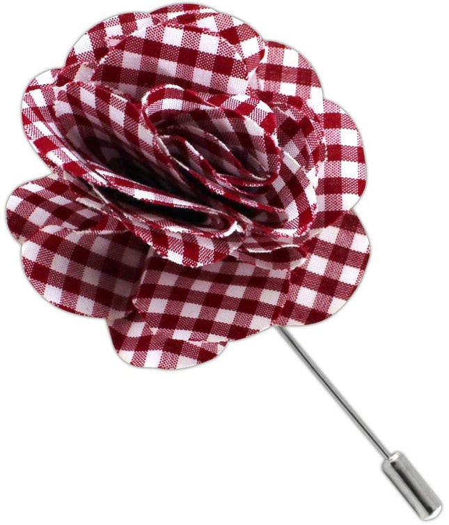 Petite Gingham Red Lapel Flower
