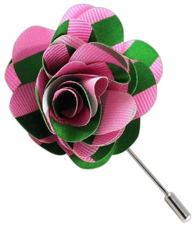 Twill Stripe Pink Lapel Flower
