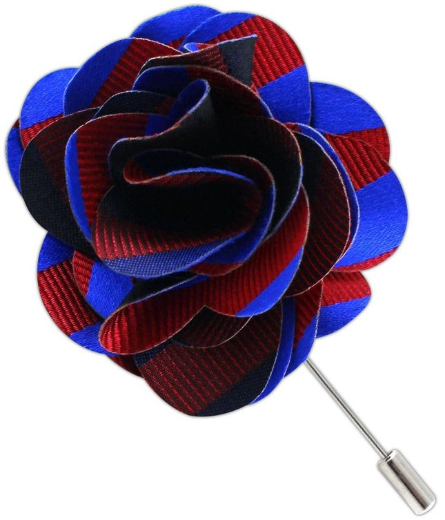 Twill Stripe Royal Blue Lapel Flower