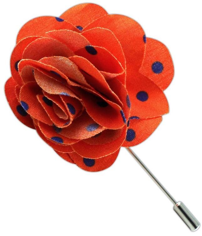 Cotton Dots Tangerine Lapel Flower
