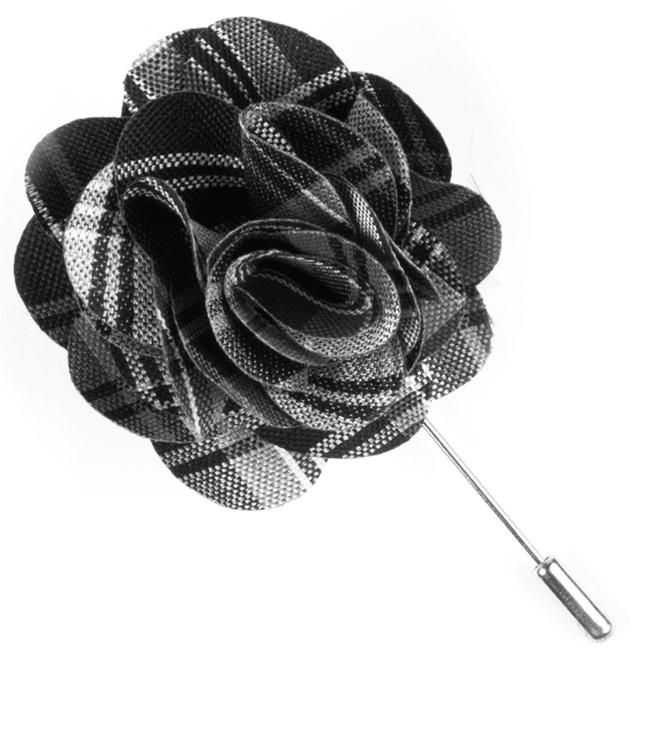 Narrative Plaid Black Lapel Flower