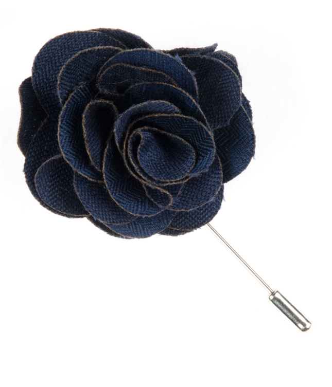 Astute Solid Navy Lapel Flower