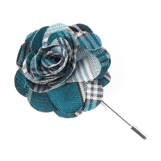 Wit Plaid Teal Lapel Flower