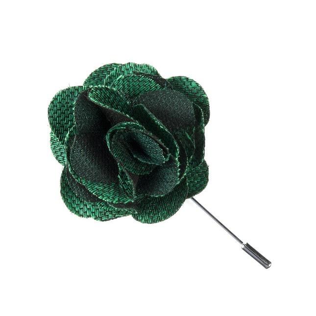 Jet Set Solid Emerald Green Lapel Flower