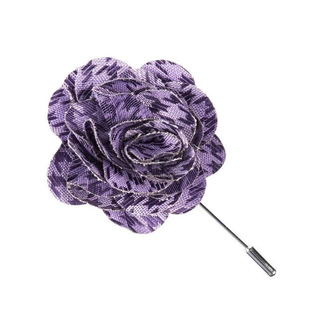 White Wash Houndstooth Lavender Lapel Flower