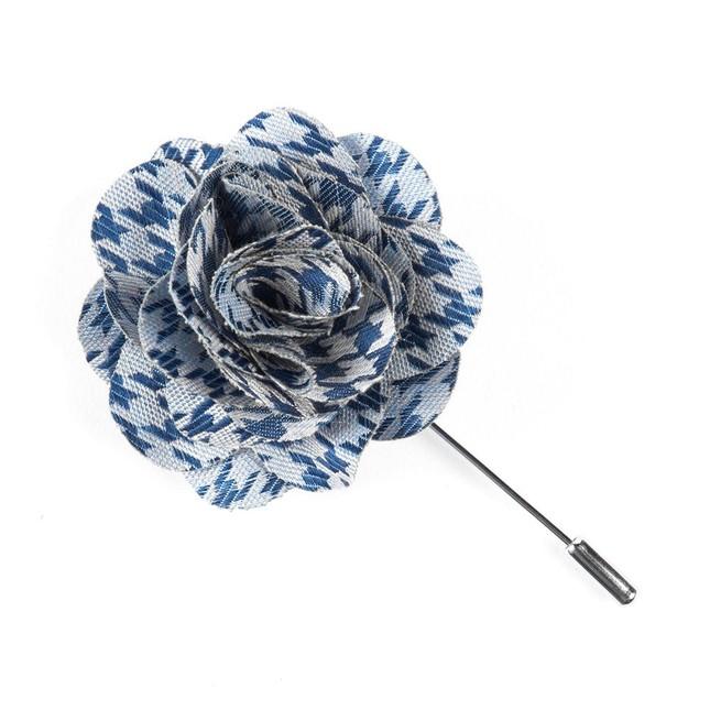 White Wash Houndstooth Blue Lapel Flower