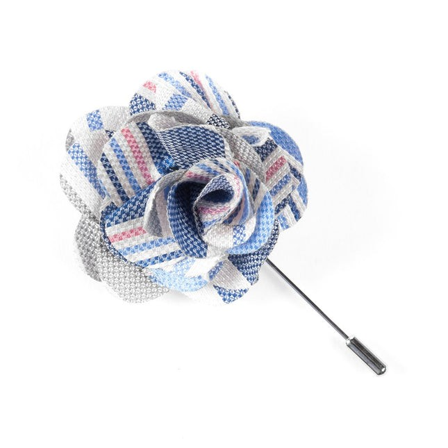 Washed Stripe Light Blue Lapel Flower