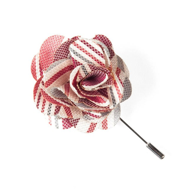 Washed Stripe Red Lapel Flower