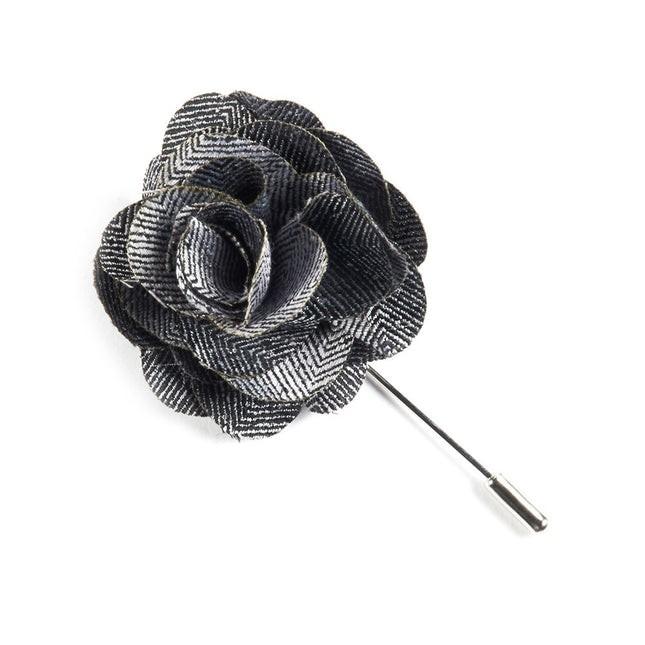 Front Row Herringbone Black Lapel Flower