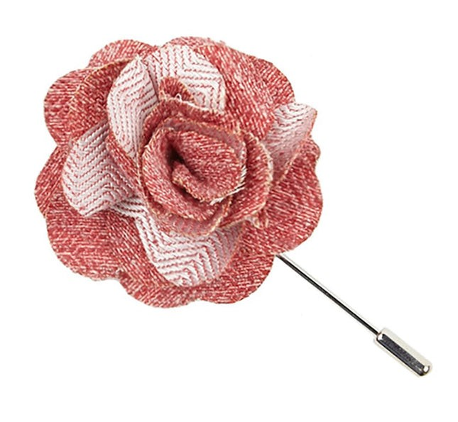 Buff Solid Red Lapel Flower