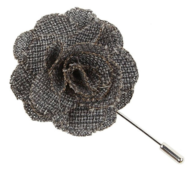 Business Solid Grey Lapel Flower