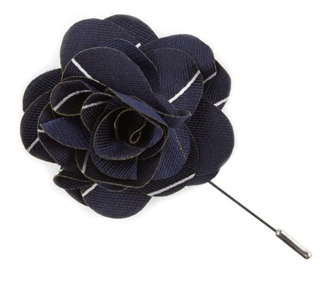 Pencil Pinstripe Classic Navy Lapel Flower