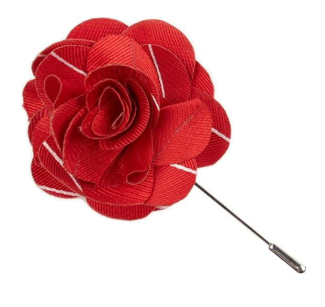 Pencil Pinstripe Apple Red Lapel Flower