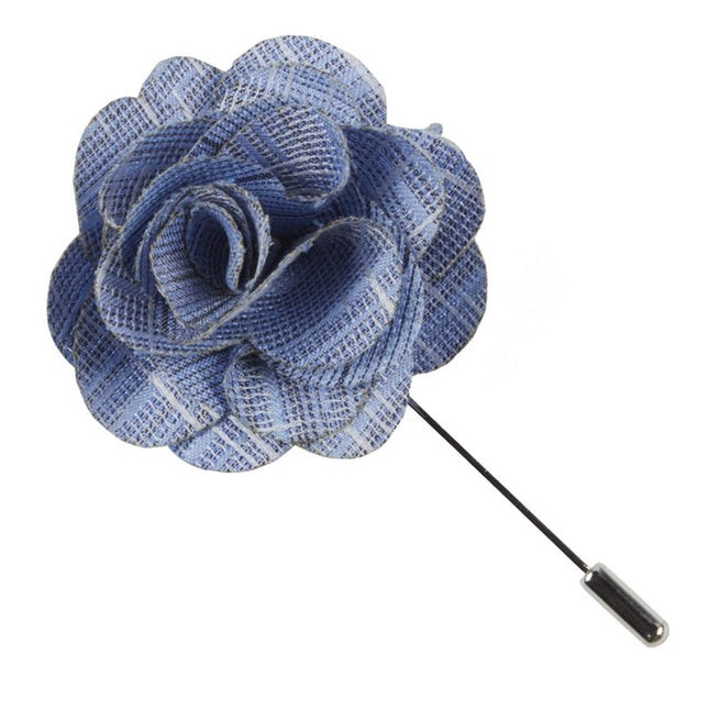 Linen Archetype Light Blue Lapel Flower