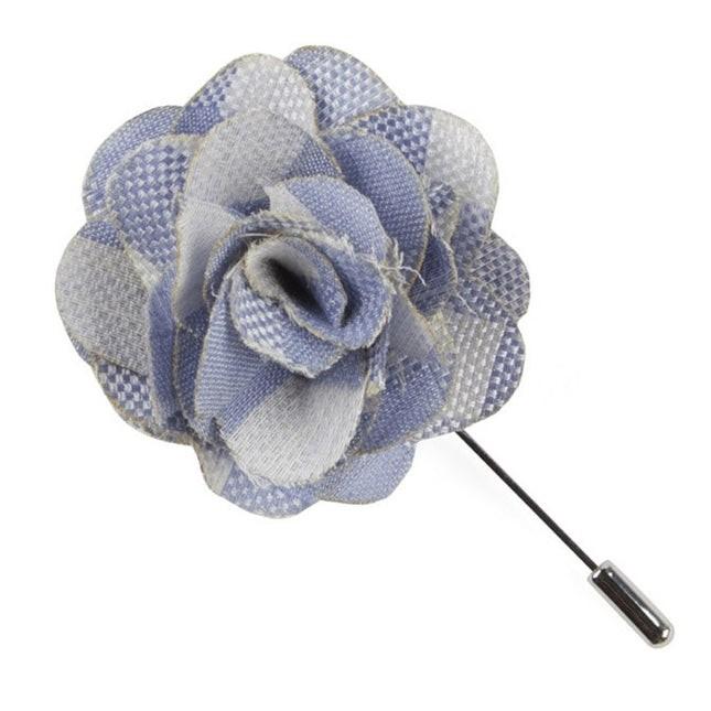 Open Air Checks Sky Blue Lapel Flower