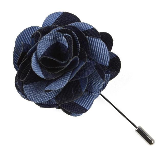 Lumber Stripe Light Blue Lapel Flower