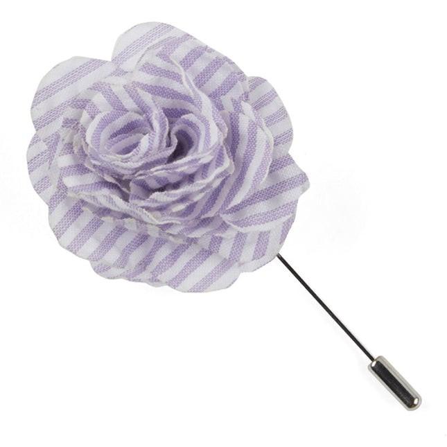 Seersucker Lavender Lapel Flower