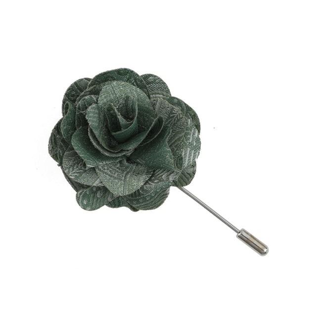 Twill Paisley Moss Green Lapel Flower