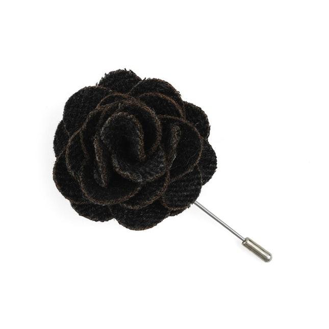 Wool Suiting Herringbone Charcoal Lapel Flower