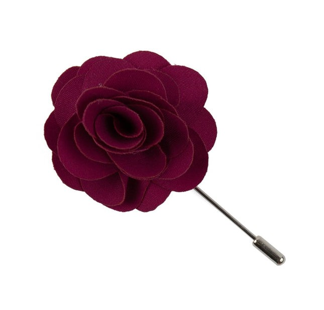 Fall Wool Solid Red Lapel Flower