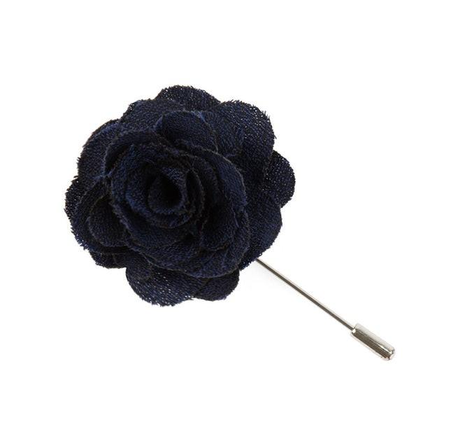 Fall Wool Solid Navy Lapel Flower