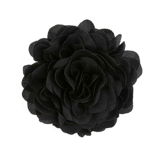 Solid Silk Xl Black Lapel Flower