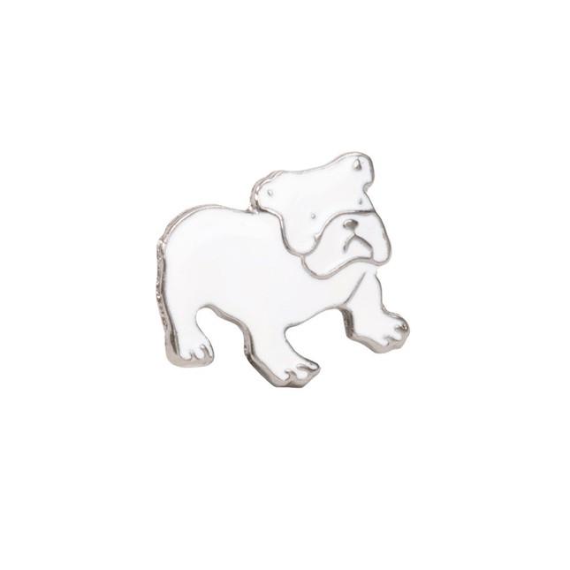 Bulldog White Lapel Pin