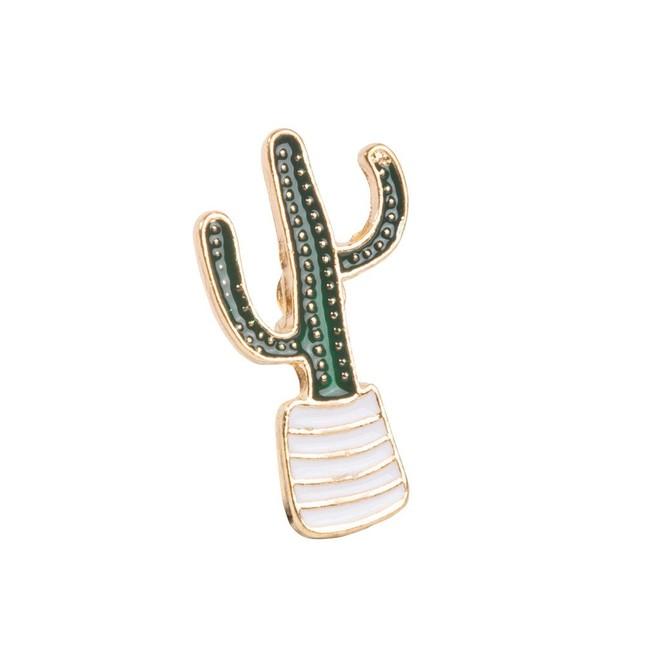 Cactus Plant Gold Lapel Pin