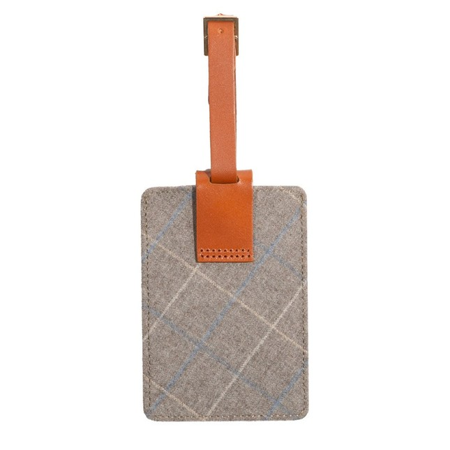 Grey Leather Luggage Tag