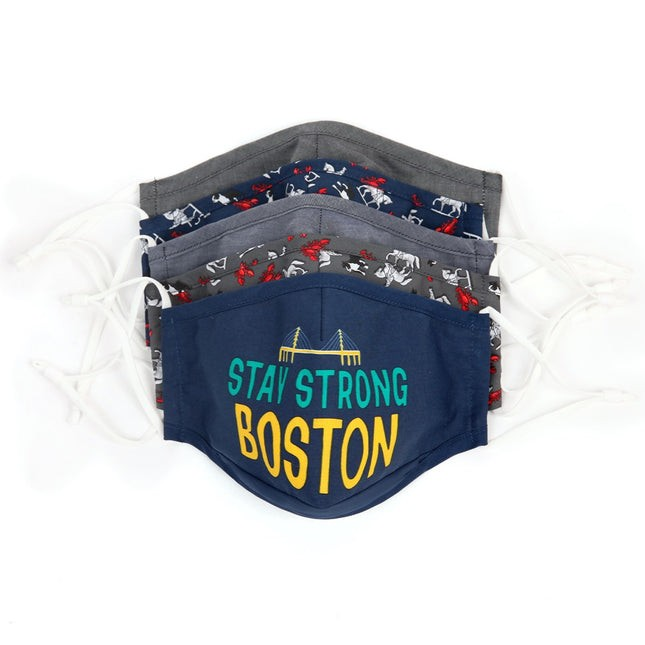 5 Pack Cotton Navy Boston Face Mask