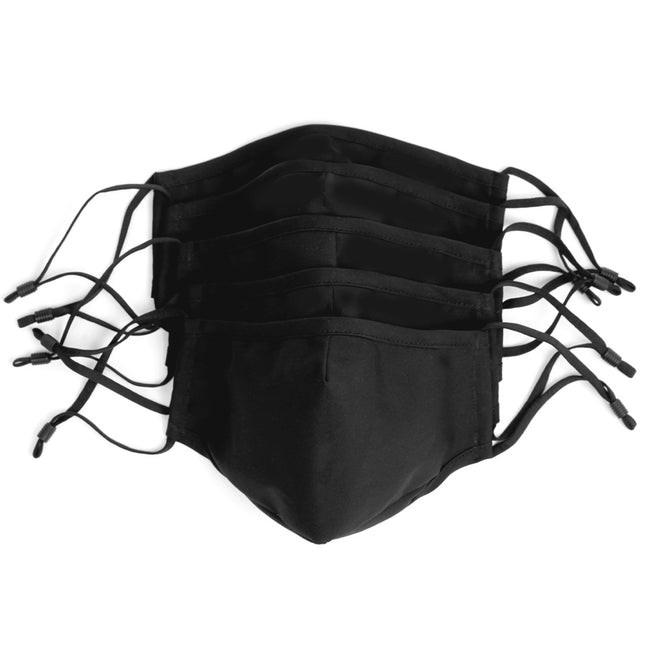 5 Pack Cotton True Black Masks