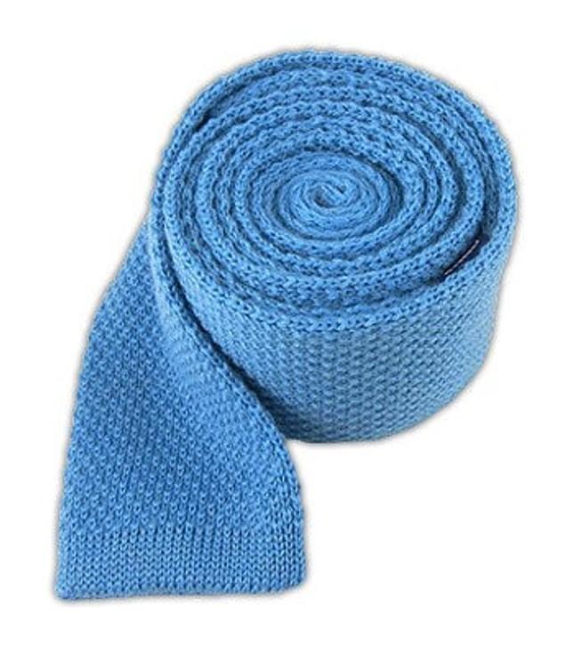 Knit Solid Wool Mystic Blue Tie
