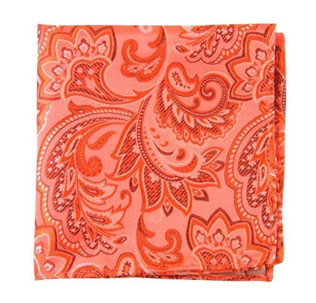 Organic Paisley Coral Pocket Square