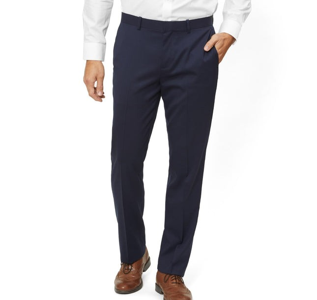 Solid Wool Classic Navy Dress Pants