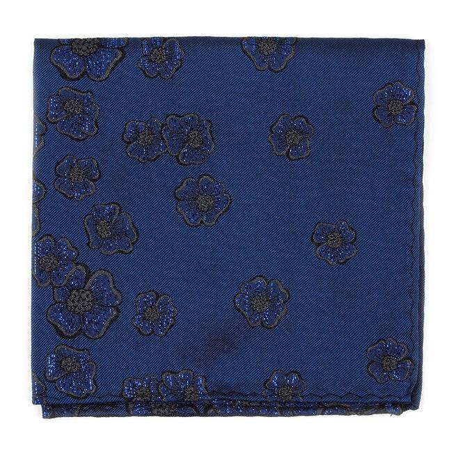 Falling Florets By Dwyane Wade Serene Blue Pocket Square