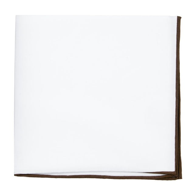 White Cotton With Border Brown Pocket Square