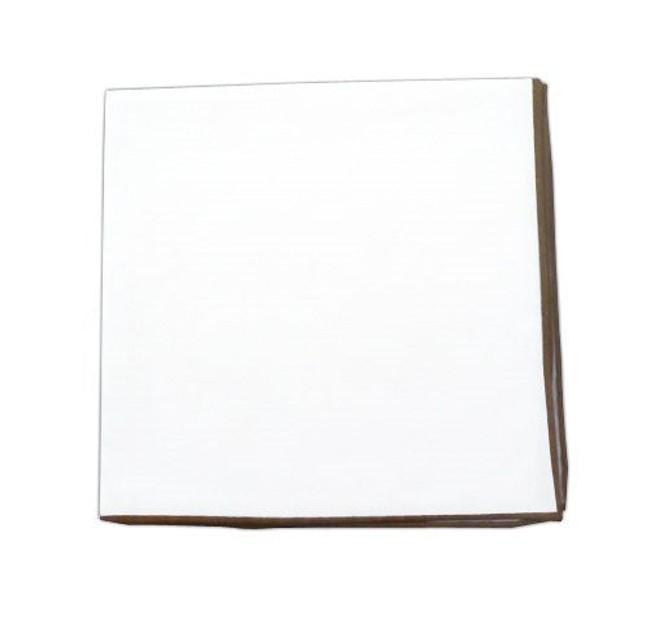 White Cotton With Border Champagne Pocket Square