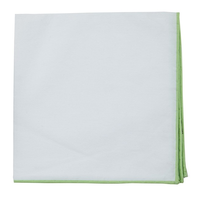 White Cotton With Border Apple Green Pocket Square