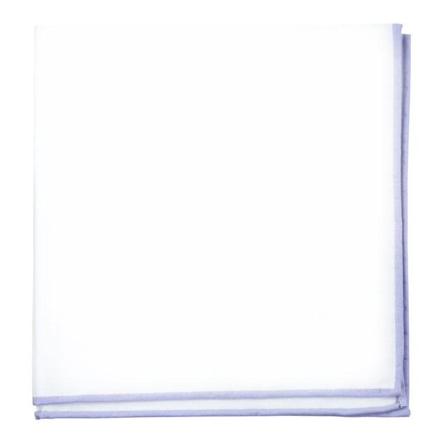 White Cotton With Border Lavender Pocket Square