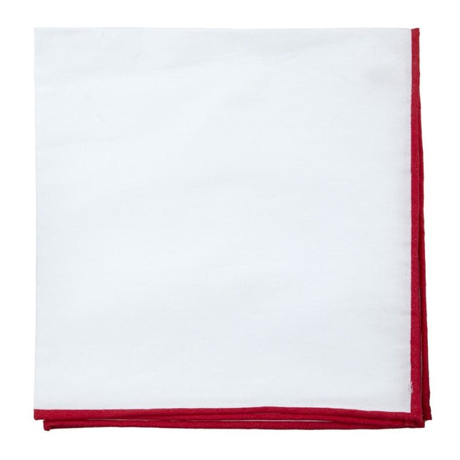White Cotton With Border Red Pocket Square