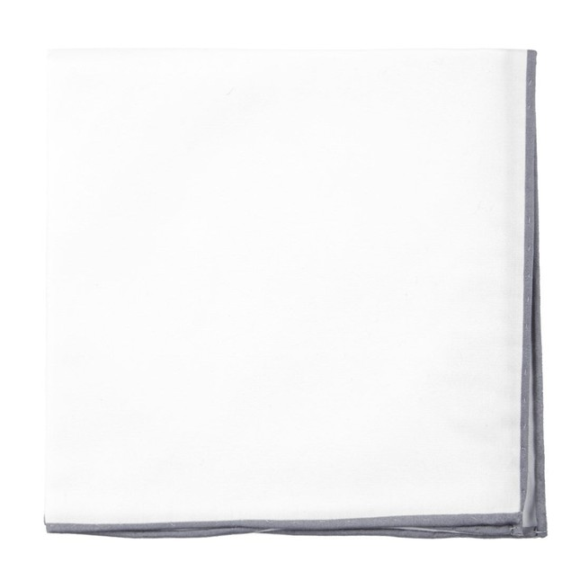 White Cotton With Border Silver Pocket Square