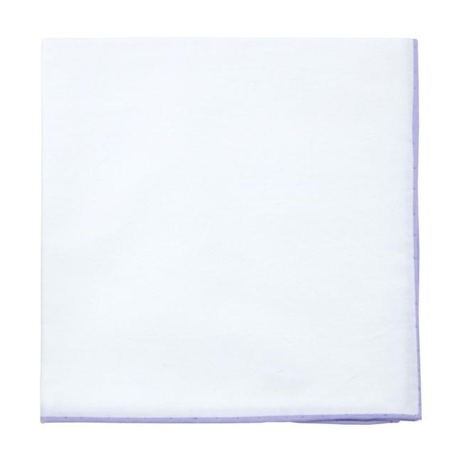 White Cotton With Border Violet Pocket Square