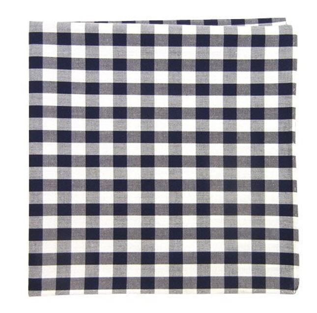 Cotton Table Plaid Navy Pocket Square