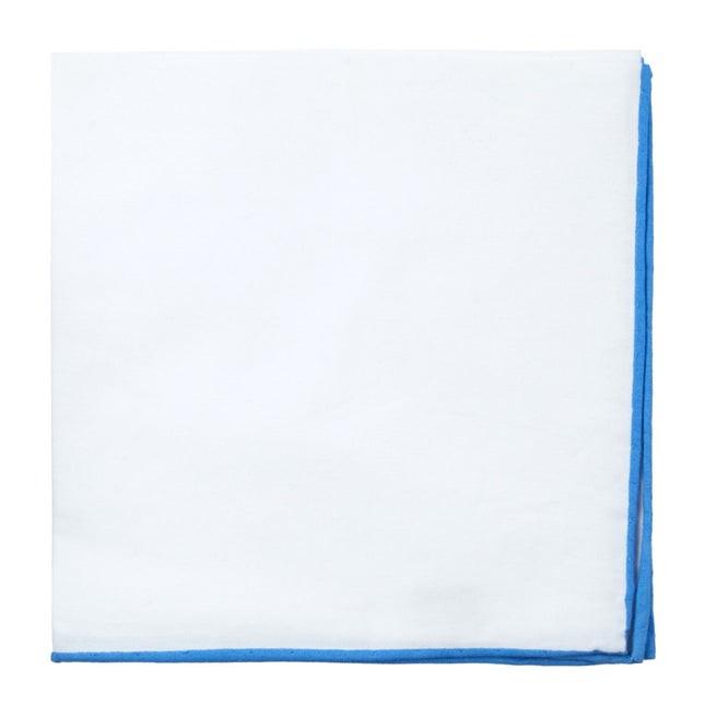 White Cotton With Border Mystic Blue Pocket Square