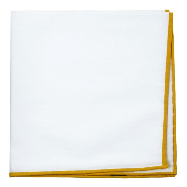 White Cotton With Border Mustard Pocket Square