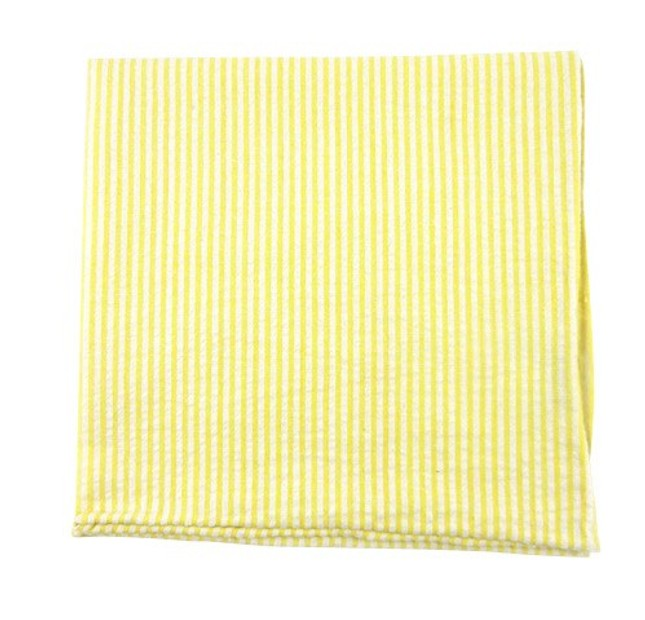 Seersucker Yellow Pocket Square