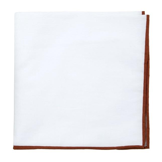 White Cotton With Border Cognac Pocket Square