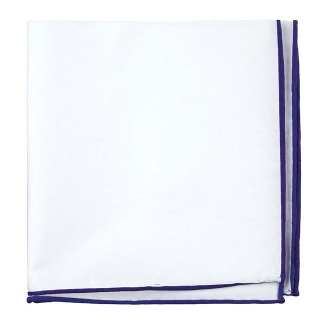 White Cotton With Border Plum Pocket Square
